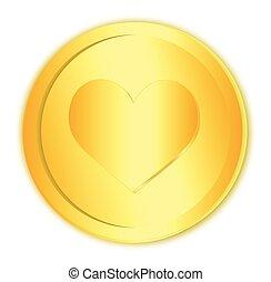 Heart sign in golden coin