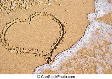 Heart sign on beach