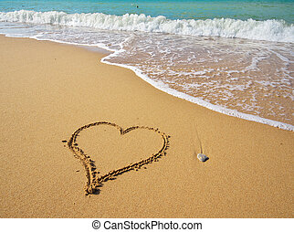 Heart sign on beach.