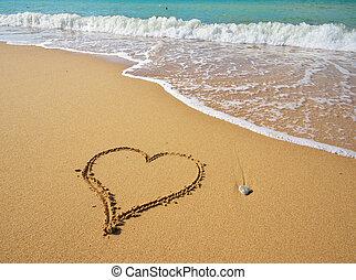 Heart sign on beach.