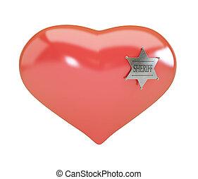 Heart sign sheriff's badge on white background. 3d Illustrations