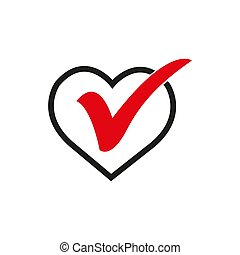Heart sign web icon with check mark symbol. Vector illustration design element .