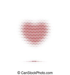 Heart sign with shadow made of red hearts isolated on white background. Vector illustraton.