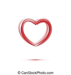 Heart sign with shadow made of red lines isolated on white background. Vector illustraton.
