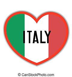 Heart sign with the Italian flag