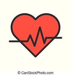Heart signal, simple filled outline icon vector