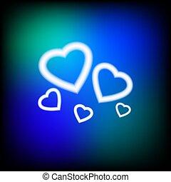 heart., signe., néon, clair, conception, retro, prêt, ton
