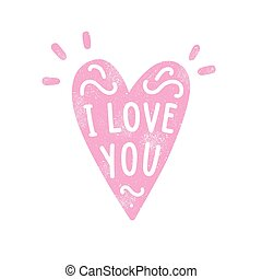 Heart silhouette and hand written text. I love you. Old...