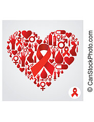 Heart silhouette with AIDS icons - HIV icons set in heart...