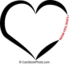 Heart silhouette with text isolated on white background