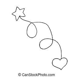 heart., sketch., illustration, main, arrière-plan., vecteur, noir, étoile, blanc, dessin, contour
