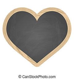 Heart slate blackboard gray with wooden frame