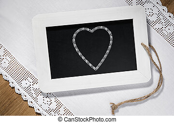 heart slate blackboard