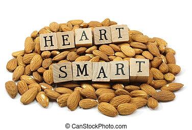 Heart Smart Almonds - Wooden block letters spelling Heart...