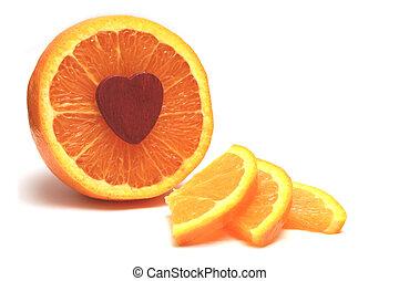 Heart smart orange - Healthy orange cut in slices ready to...