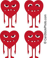 Heart smile face icon. Design color flat illustration. 4 vector valentine icons set