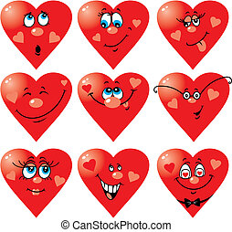 Set of nine vector heart smiles to Valentine`s day