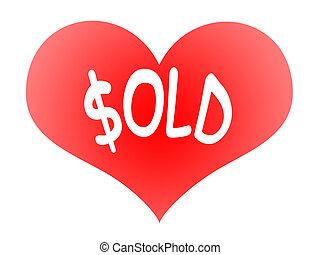 Heart Sold - Tender Red Heart Symbol with Sold Inscription...