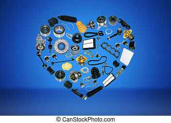 heart spare parts car on the blue background