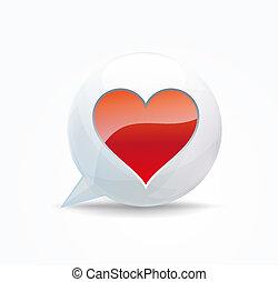 heart. speech bubble