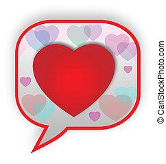 Heart speech bubble logo