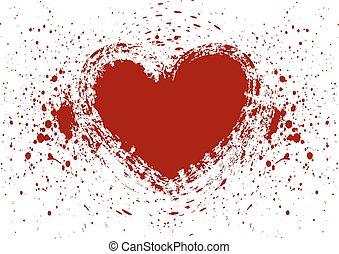 heart splatter blood isolate