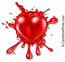 Heart Splatter - Heart splatter concept with a red three...