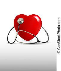 heart., stéthoscope, fond, vector.
