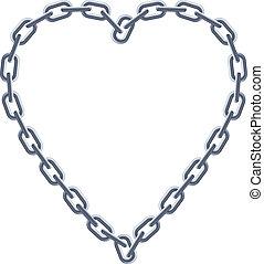 heart., stříbrné peníze zřetězený