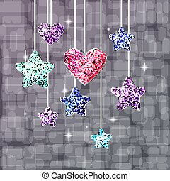 Heart, stars and bright background. Postcard or banner on the holiday. Vector
