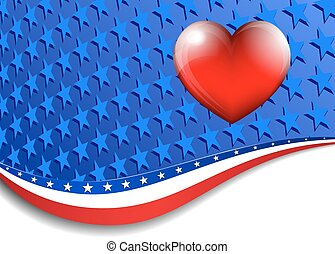Heart Stars and Stripes Background