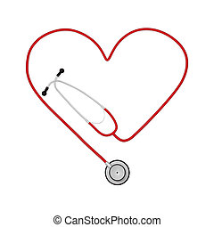 Heart Stethoscope - Image of a heart stethoscope isolated on...