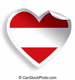Heart sticker with flag of Austria isolated on white