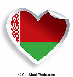 Heart sticker with flag of Belarus isolated on white