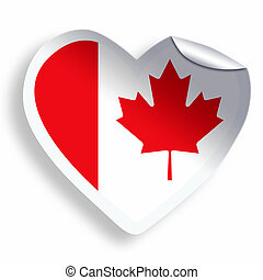 Heart sticker with flag of Canada isolated on white