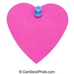 Heart Sticky Label, with blue pin