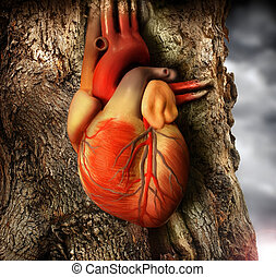 Heart - Abstract photo of a human heart growing out of a...