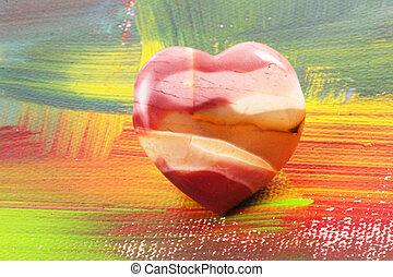 heart - A heart of gem on a artful surface on a canvas