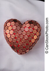 heart - A red heart with 1 Euro cent coins