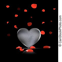 heart-stone and red petals