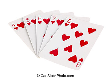 Heart Straight Flush on White Background