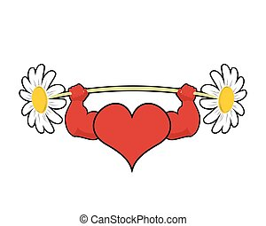 Heart strong. love powerful. Sport barbell chamomile flower