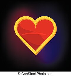 Heart suit card icon, cartoon style