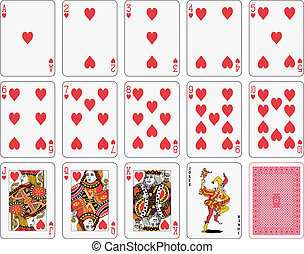 Heart suit - Detailed playing cards, heart suit, joker and...