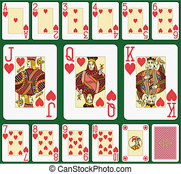 Heart suit large index, jack, queen and king double sized, geen background in a separate level in vector file