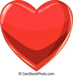 Heart suit plying card icon, cartoon style