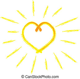 simple drawing of a bright swirly heart shaped sun with yellow rays in a grunge style