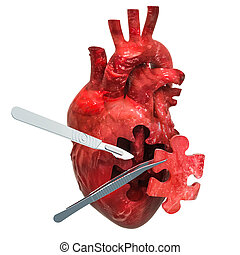 Heart surgery concept, 3D rendering