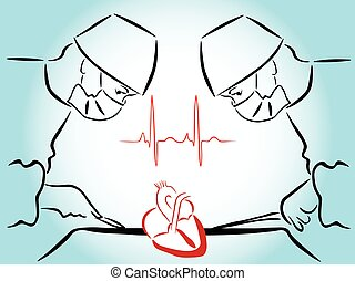 heart surgery - isolated on a blue background silhouettes of...