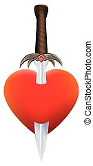 Heart Sword Symbol - Sword in a heart, as a symbol for...